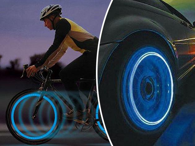 Világító szelepsapka kerékpárhoz / motorhoz / autóhoz  (1 pár) - láthatóság és dizájn egyben