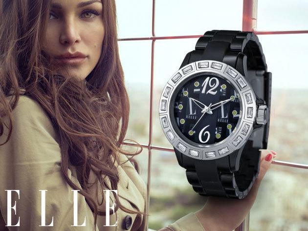 ELLE márkás női karóra fekete színben, strasszkövekkel díszített számlappal, trendi plasztik szíjjal