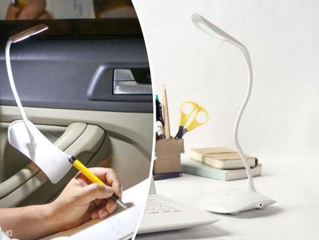 Asztali LED lámpa flexibilis szárral: USB csatlakozó, akkumulátor, praktikus csíptethető talp