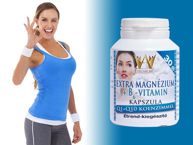 Prémium Extra Magnézium + B6-Vitamin kapszula, Q1+Q10 koenzimmel 30db/doboz