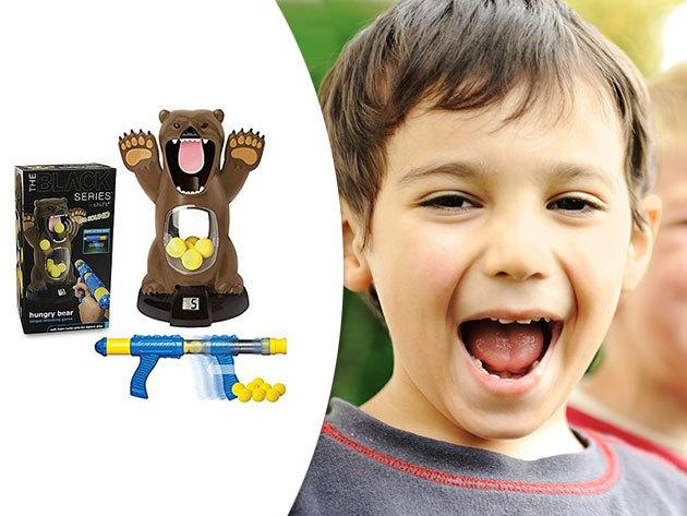 Hungry Medve - Vadászd le az éhes medvét! Ügyességi játék gyerekeknek, a cél egy puskával és szivacs golyókkal betalálni a medve szájába