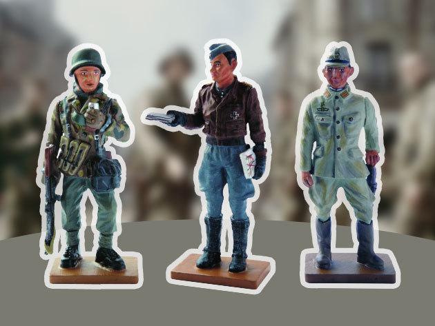 Ólomkatonák aprólékos kidolgozással, kézi festéssel, 18 oldalas magazinnal, 18 darab különféle katona a II. világháború idejéből, gyűjtsd össze a teljes kollekciót!