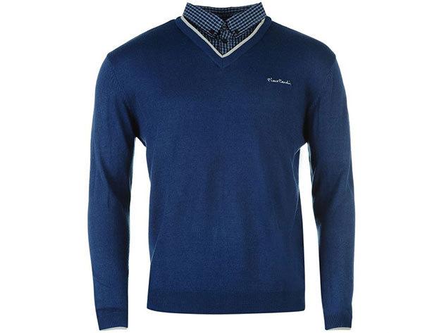 Pierre Cardin V nyakú férfi pulóver - kék / L