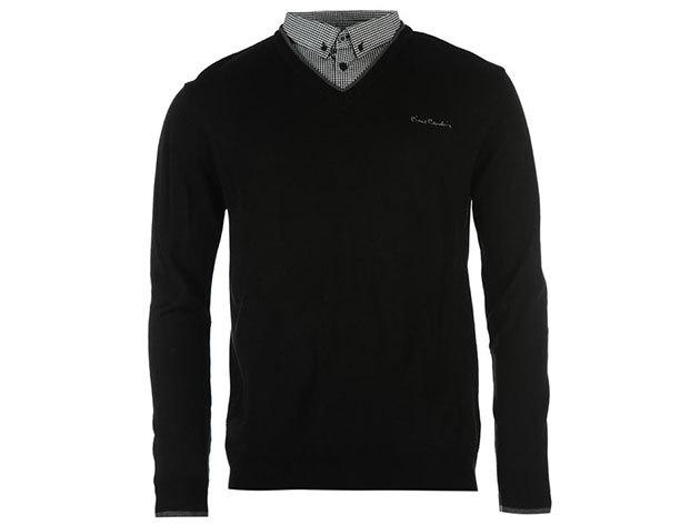 Pierre Cardin V nyakú férfi pulóver - fekete / M
