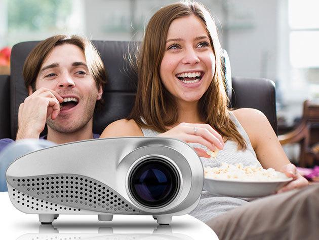 Mini LED Projector 802 típusú, nagy felbontású, rendkívül csöndes projektor otthoni mozizáshoz vagy oktatási célokra, fehér és fekete színben
