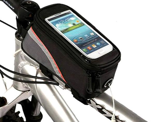 Biciklistáska cseppálló, átlátszó telefontartóval és praktikus rekeszekkel, hogy tekerés közben is biztonságosan használhasd telefonod egyes funkcióit