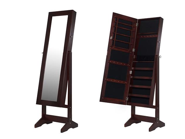 Tükrös fa ékszertartó szekrény, álló, barna