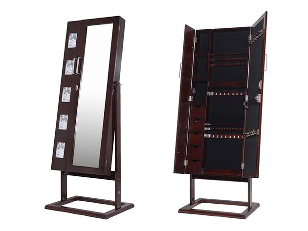 Tükrös fa ékszertartó szekrény, álló, fényképtartóval, barna