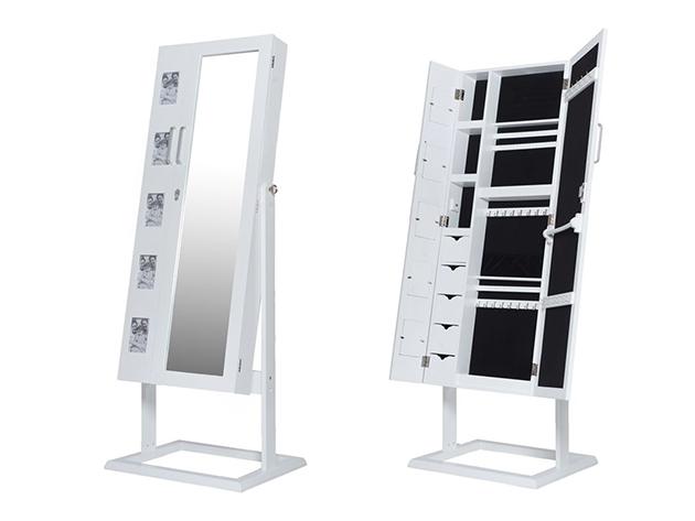 Tükrös fa ékszertartó szekrény, álló, fényképtartóval fehér
