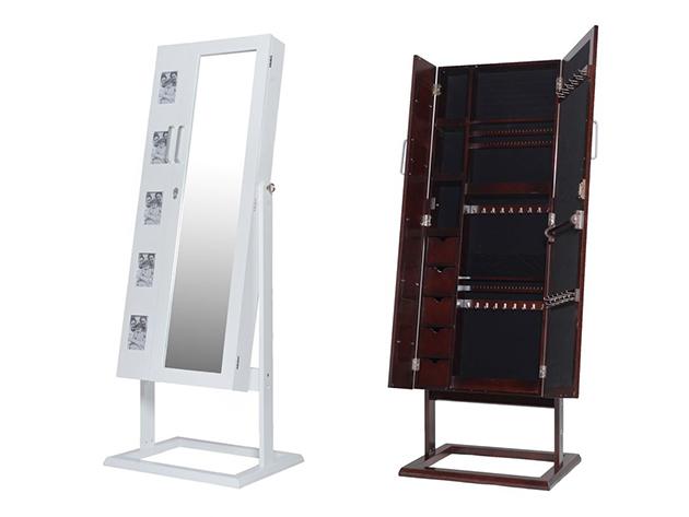 Tükrös fa ékszertartó szekrények falra akasztható, álló és fényképes kialakítással, fehér és sötétbarna színben