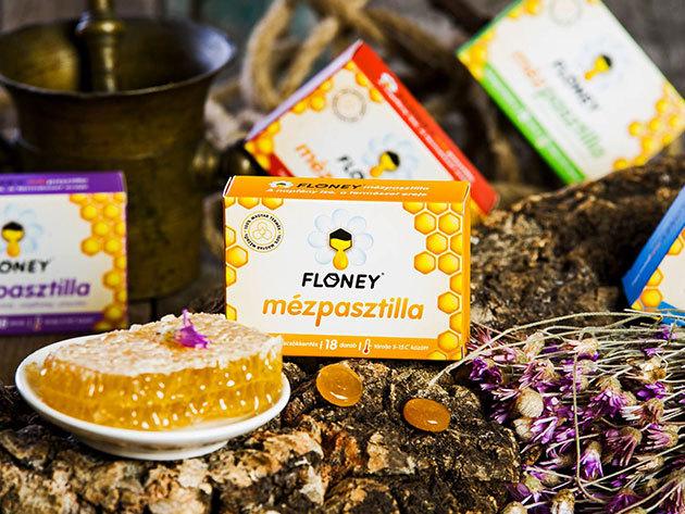 Floney mézpasztillák 5 különböző ízben, 100% magyar mézből és gyógynövények felhasználásával, mesterséges aromák és tartósítószerek nélkül, hatékony segítség megfázásos tünetekre