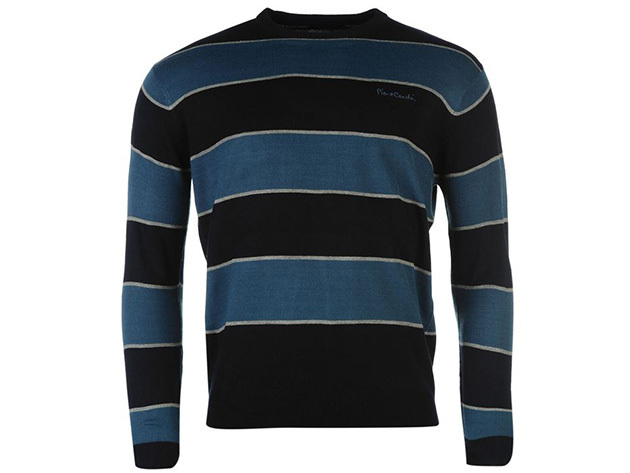 Pierre Cardin Big Stripe Knitted Jumper Mens_navy_teal_559231 (XXL)
