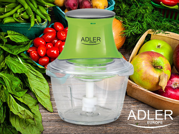 Aprítógép üvegkehellyel és rozsdamentes acél pengékkel / ADLER - pillanatok alatt aprítható dióféle, sajt, fűszernövények, hagyma, zöldségek, és akár húsok is