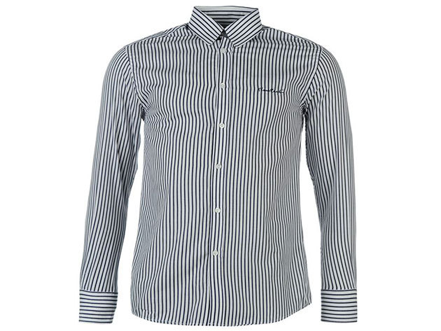 Pierre Cardin Long Sleeve Shirt Mens White-Navy (L)