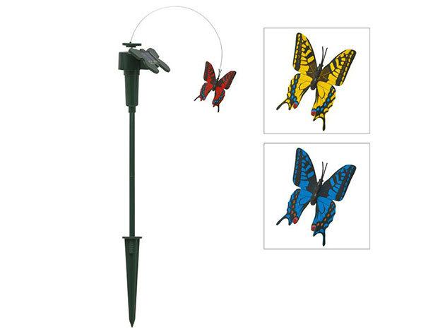 Átlátszó napelemes kerti pillangó (1 db)