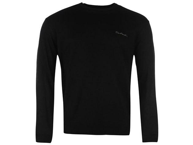 Pierre Cardin kerek nyakú vékony férfi pulóver - fekete - 55922803 (XXL)