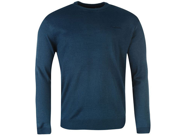 Pierre Cardin kerek nyakú vékony férfi pulóver - türkiz - 55922890 (XL)