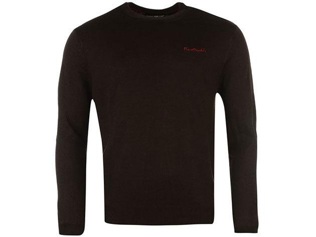 Pierre Cardin kerek nyakú vékony férfi pulóver - barna - 55922891 (M)