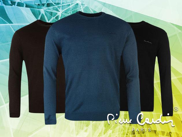 Pierre Cardin gépi kötött, kereknyakú férfi pulóver M-XXL méretben, a stílusos megjelenésért