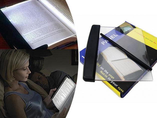 LED olvasólámpa, melyet a könyv lapjára helyezve megvilágítja a szöveget - könyvjelzőként is funkcionál