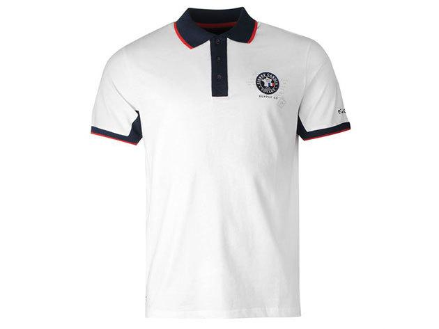 Pierre Cardin Badge Polo Shirt Mens Fehér (S)