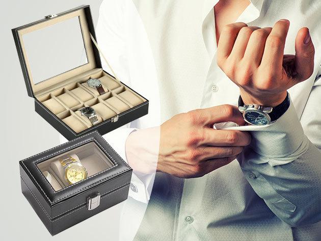 Óratartó dobozok exkluzív megjelenéssel, 3, 6, 10 vagy 12 darab karórának, kívül fekete műbőr borítással és fehér varrással, belül világos színű szövettel, nagyszerű ajándék nőknek és férfiaknak is