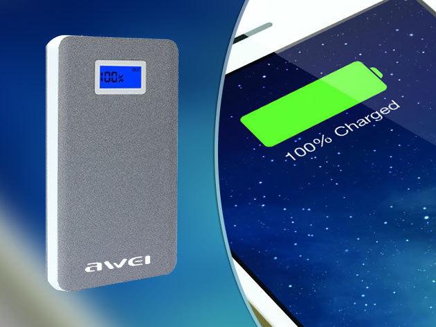 AWEI P83K külső akkumulátor 10000mAh kapacitással, dupla USB-kimenettel, zseblámpa funkcióval, microUSB adatkábellel, LED-kijelzővel