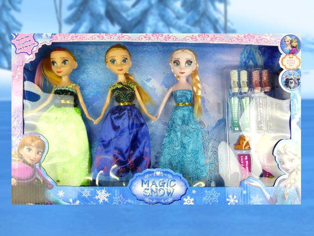Jégvarázs stílusú babák - 3 baba egy csomagban, kiegészítőkkel / Lepd meg a kis hercegnődet gyermeknapon!