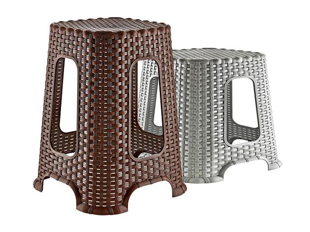 Rattan hatású sámlik strapabíró műanyagból, 2 választható méretben, sötétbarna, szürke-ezüst vagy világosbarna-arany színben
