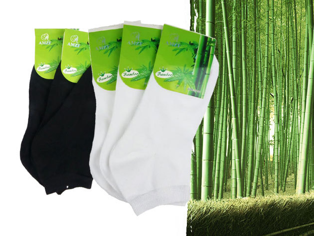 Bambusz szálas zoknik -  6 vagy 10 pár / csomag, női és férfi méretek gátolja a kellemetlen szagok kialakulását