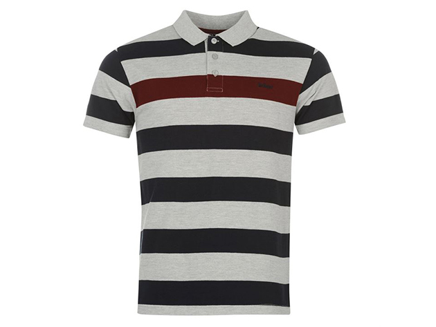 Lee Cooper Stripe Polo Shirt Mens férfi galléros póló, grey-navy-burgundy - XL