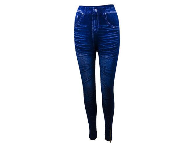 Női farmerhatású sötétkék pamut legging M/L