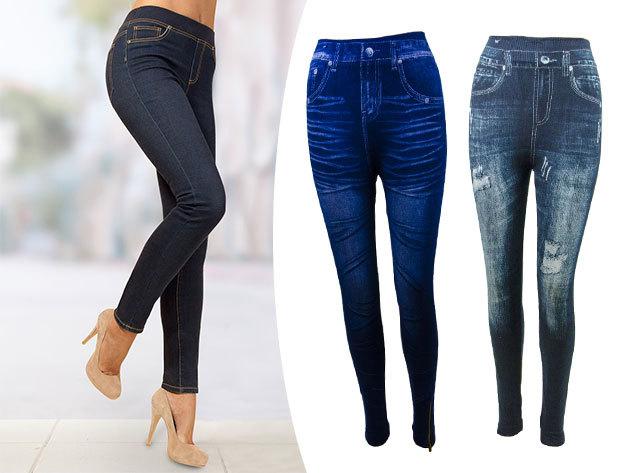 Farmerhatású női pamut leggings M/L és XL/XXL méretben, <br>2 kék színű árnyalatban, praktikus darab a ruhatárban minden korosztálynak