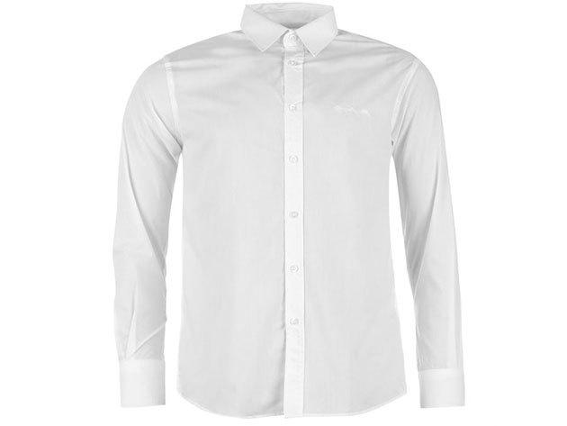Pierre Cardin Long Sleeve Shirt Mens férfi hosszú ujjú ing plain white - S