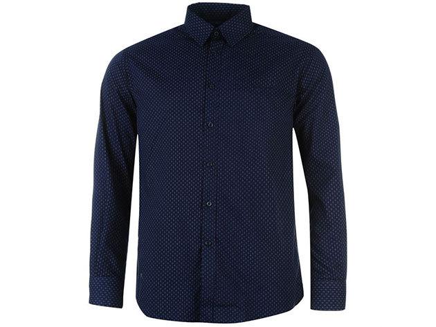 Pierre Cardin Long Sleeve Shirt Mens férfi hosszú ujjú ing navy-white geo - S