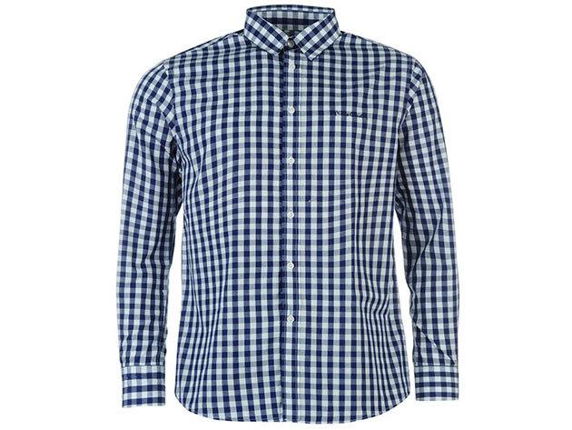 Pierre Cardin Long Sleeve Shirt Mens férfi hosszú ujjú ing navy-L gingham - S