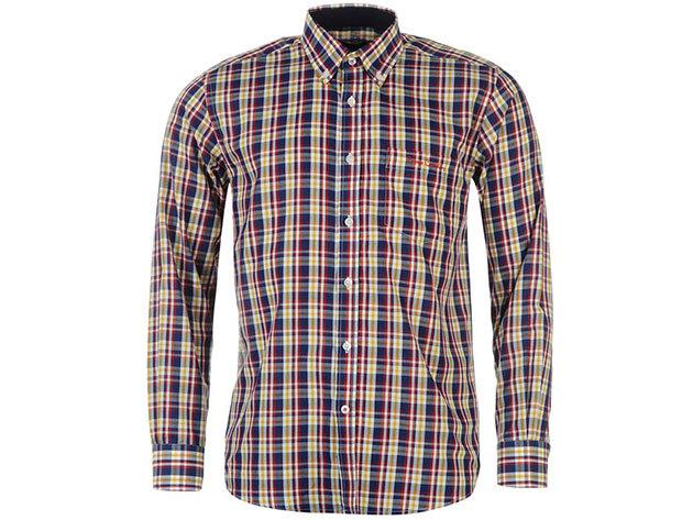Pierre Cardin Long Sleeve Shirt Mens férfi hosszú ujjú ing navy-red-yellow check - S