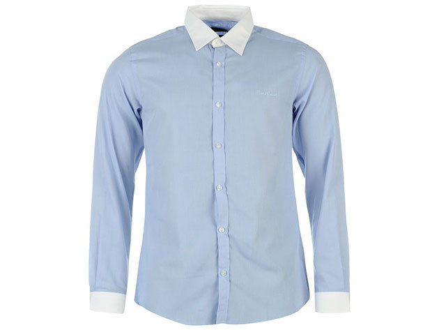 Pierre Cardin Long Sleeve Shirt Mens férfi hosszú ujjú ing blue-white - S