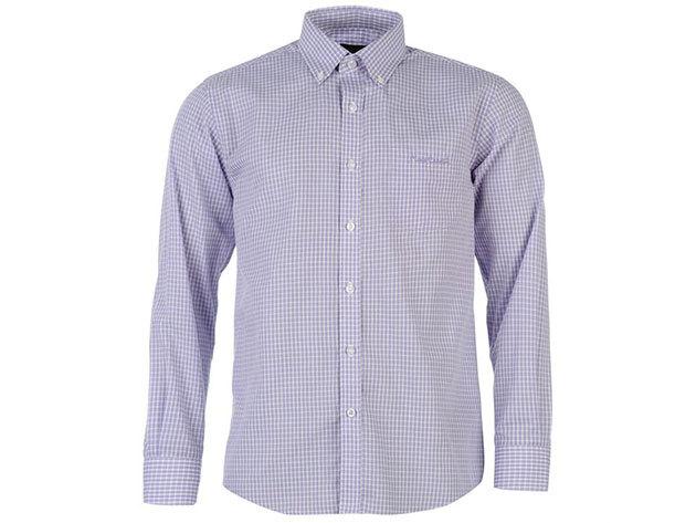 Pierre Cardin Long Sleeve Shirt Mens férfi hosszú ujjú ing lilac check - S