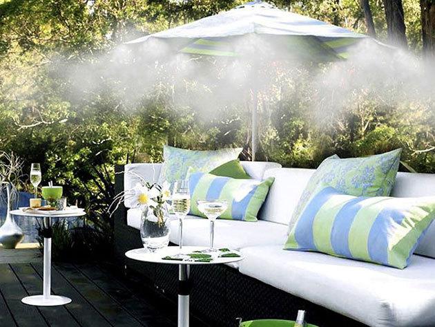 Párakapu szett, vízpermet 10 méteres hosszúságban, 10 db fúvókával - kellemes felüdülés az otthonodban! Rögzíthető rendszer a teraszra vagy az udvarra