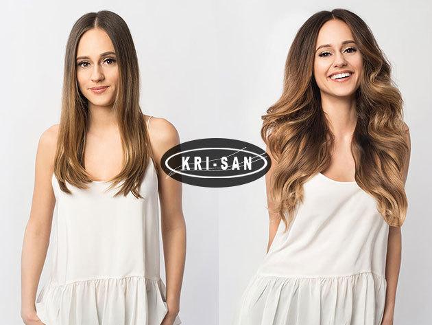 Hajhosszabbítás hüvelyes technikával, 100 tincs felrakása hüvellyel együtt, lenyűgözően hosszú haj hónapokon át az V. kerületi Kri-San Stúdió jóvoltából