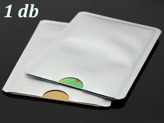 Leolvasás védő tok érintős bankkártyákhoz - 1 db, ezüst színben