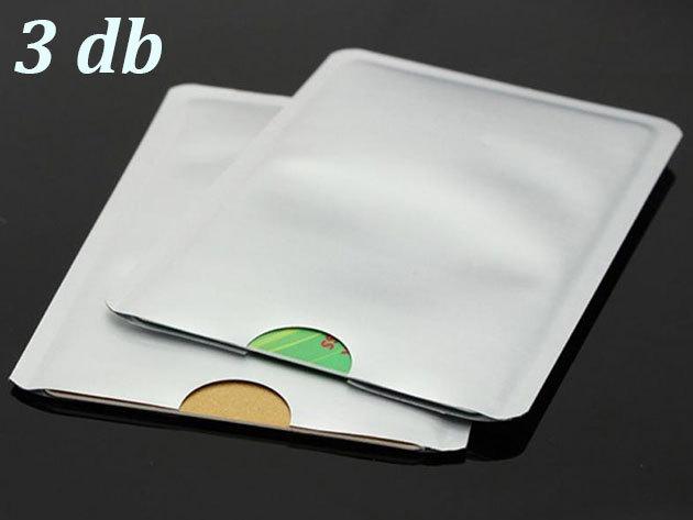 Leolvasás védő tok érintős bankkártyákhoz - 3 db, ezüst színben