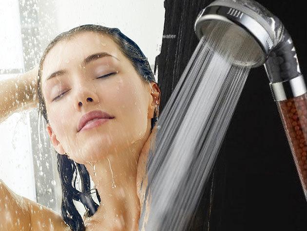 Germánium zuhanyfej - természetes vízfertőtlenítő hatás és víztakarékosság / a germánium kristályok gátolják a baktériumok szaporodását és kiszűrik a klórt