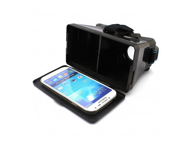 """3D Virtual Reality szemüveg okostelefonokhoz, gumis fejpánttal, legfeljebb 5,6""""-os mobilokhoz, keltsd életre a filmeket és videókat, add át magad a virtuális valóság 3D-s élményének"""