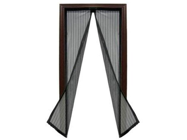 Mágnesekkel záródó szúnyogháló (100x210 cm) - Fekete színben