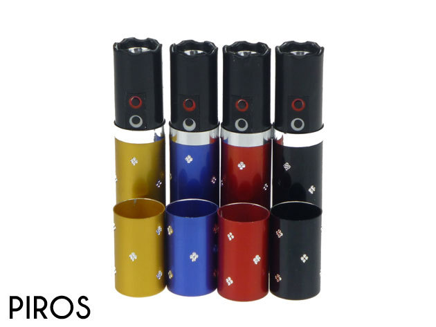 Sokkoló LED lámpával, női kis méret parfümnek álcázva - piros