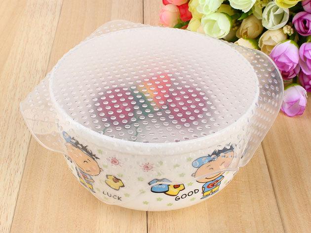 Praktikus, nyújtható szilikon ételfedő 3 méretben - tárolóedények lezárásához, ételek frissen tartásához