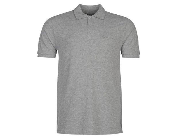 Pierre Cardin Plain Polo Shirt Mens férfi galléros póló grey marl - S
