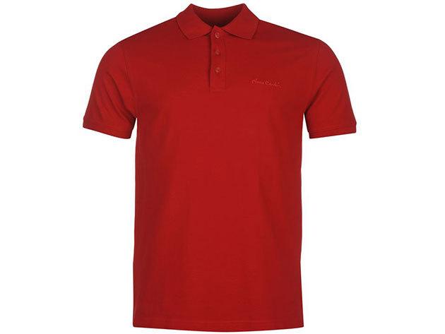 Pierre Cardin Plain Polo Shirt Mens férfi galléros póló deep red - S
